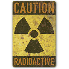 Radioactive Caution Warning Nuclear Radiation Symbol Tin Metal Sign Rust FX