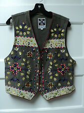 "HAIRSTON ROBERSON ""ROPA DENIM VEST, TAUPE w/ EMBROIDERED DECORATION, SIZE LARGE"
