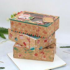 3/6/12pcs Christmas Candy Cookie Boxes Bakery Gift Boxes Cupcake Muffin Box  UK