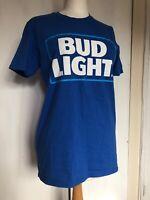 Mens Medium Bud Light Cotton Pub Man Cave Beer Memorabilia Promotion T-Shirt