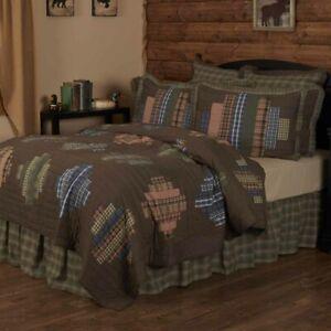 VHC Brands Rustic King Quilt Brown Patchwork Seneca Chambray Bedroom Decor