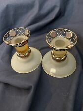 """Partylite Set of 2 Paris Retro Frosted Tan Glass Candle Holders 3.5"""" P7687"""