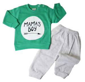 Babyset Newborn Starterset Hausanzug süß 2-tlg Jungen Grün 68 74 80 Mamas Boy