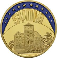 EUROPE ECU SERIES FINLAND SUOMI GILDED PROOF LIKE GILT MEDAL 1998 #ME236