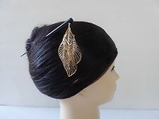 Japanese Kanzashi Hair Stick Gold-tone Metal Leaves Design Hair Accessory