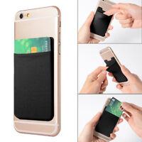 Mobile Phone Credit ID Card Holders Wallet Pocket Adhesive Sticker Lycra Elastic