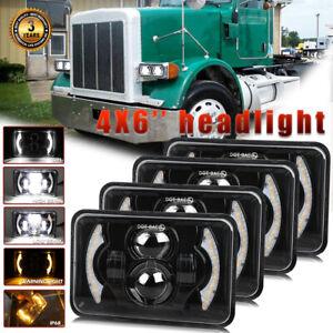 "4x6"" inch 240W Led Headlight Hi-Lo Beam DRL For Peterbilt 379 378 357 Kenworth"