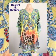 Crystal Embellished Kaftan M/L, 14-22, Resort Wear, Tribal Animal Print