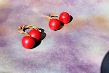 "VTG 1980's Hand Carved Red Cherries FRUIT Twine Stems, 1"" tall Set of 2 pair"
