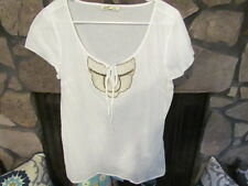 Women's Blouse Size M White Simple Style Beaded Details in Front Old Navy Brand