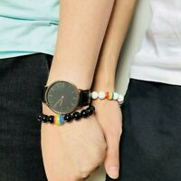 Men Women Rainbow LGBT Couple Natural Stone Beaded Bracelet Pride GAY Jewelry