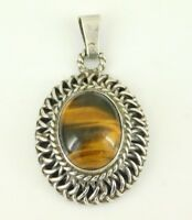 Vintage Taxco Mexico 925 Sterling Silver Tiger's Eye Pendant Signed GRF