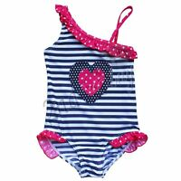 Girls kids One Piece Striped Swimsuit Swimwear Tankini Swimming Costume Age 2-16