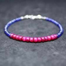 Natural Ruby Sapphire Bracelet in Solid 14K White Gold 5th 40th 45th Anniversary