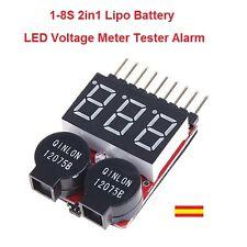 Probador Tester de Baterias RC Lipo 1-8S 2 en 1 con Alarma de bajo voltaje