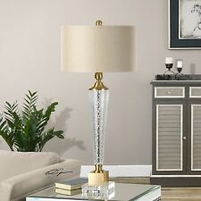 NEW MODERN TEXTURED GLASS TABLE LAMP BRUSHED BRASS ACCENTS CRYSTAL FOOT LIGHT