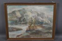 Albert Müller (1884 - 1963) Blick auf Dammanlage am Flusslauf - Pastellzeichnung