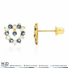 14K Solid Yellow Gold Sapphire White Zircon Heart Baby Screwback Stud Earrings