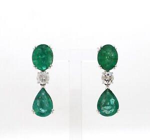 Genuine 9.15 Ct. Emerald Gemstone Dangle Earrings 18k White Gold SI/HI Diamond