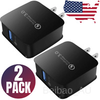 2Pack 18W Fast USB Wall Charger Adapter Plug Quick Charge 3.0 For iPhone Samsung
