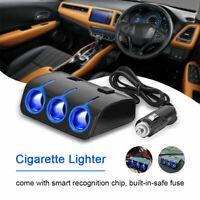 3 Way Car Cigarette Lighter Socket USB Plug Ports Power Charger Adapter Splitter