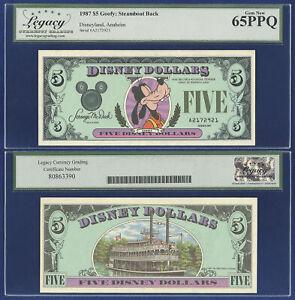DISNEY 5 DOLLARS 1987 ANAHEIM FIRST ISSUE GRADED LCG GEM NEW 65PPQ
