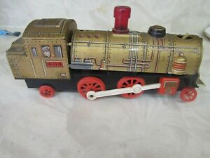 VINTAGE TIN TRAIN ENGINE TRADE MARK MODERN TOYS Made in japan 4114 gold