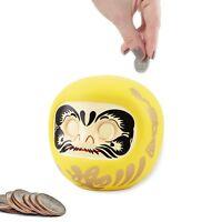 4'' Yellow Daruma Coin bank Fortune Doll Make Wish Doll Blank Eyes Piggy Bank