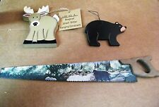 Country primitive wood cabin lodge deer bear sign metal saw with magnets decor