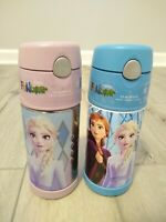 2x new FROZEN Disney Thermos Funtainer Pink Blue Insulated Drink Bottle Princess