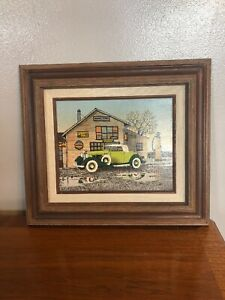Vintage H. Hargrove Oil Painting on Canvas, Seal of Authenticity -General Store