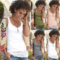 Women Lace Vest Sleeveless Loose Camisole Casual V-Neck Tank Tops Blouse T Shirt