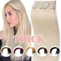 Double Weft Clip in Wavy Straight Thick Full Head Hair Extension 100% Remy Human