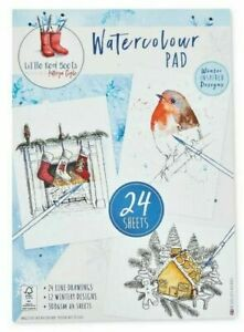24 A4 Watercolour traditional Christmas painting paper pad little red boots