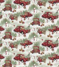 Christmas Fabric - Susan Winget Red Pickup Truck Snowman Scenic - Springs YARD