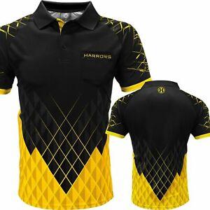 Harrows Paragon Dart Shirt With Pocket Black & Yellow Small to 5XL