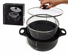 3 Piece Non Stick 26cm Deep Fat Fryer with Glass Lid Frying Basket Chip Pan