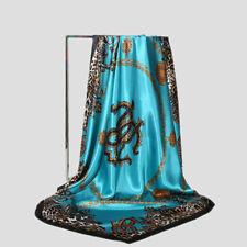 90*90cm Women Leopard Chain Print Hijab Silk Satin Shawl Neck Wrap Square Scarf