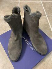 Women's Stuart Weitzman Gray Boots Fur Lined US Size  8 Retail $565