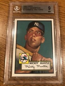 1996 Topps Mantle Redemption #2 Mickey Mantle 1952 Topps BGS 9 MINT