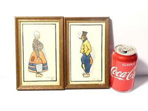 2 x 1905 Hand Painted Dutch  Man + Woman Signed Horace Tilley HAREWOOD ARMS
