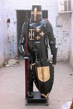 Medieval Black Armour Wearable Knight Crusader Full Suit Of Armor Collectible