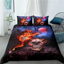Skull Band Flame Duvet Cover Pillowcase Bedding Set Halloween Cartoon Queen Boy