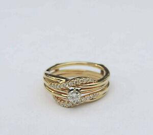 Ladies Genuine Diamond Solitaire Wedding Set w/ 23 Dia. ~ 14K Yellow Gold
