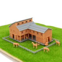 Outland Models Railroad Scenery Country L-Shape Barn House w Accessories N Scale