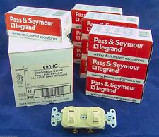 Lot of 10 690-I w/Ground Dual 2 Two Duplex 1 Pole Switch 15a 120/277vac Ivory