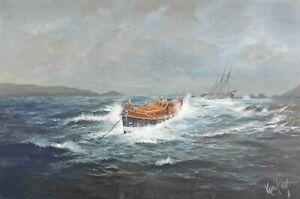 Kevin Platt - Original Oil Painting - Lifeboat Aiding a Stricken Tall Ship.