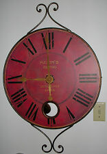 """LARGE DECORATIVE WALL CLOCK 36"""" WITH VISIBLE PENDULUM MAXIM'S BISTRO 1912 FRANCE"""