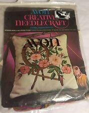 Avon Creative Needlecraft Spinning Wheel Rose Pillow Crewel VTG Embroidery Kit