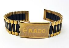 NEW 18MM RADO DIASTAR 2 TONE GENTS WATCH STRAP. (BLACK & GOLDEN ).